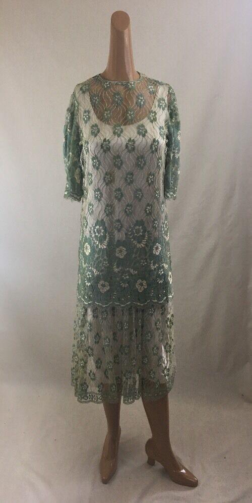 Vintage Lace Floral Dress 2 Piece Green Mermaid Formal Long Boho RARE