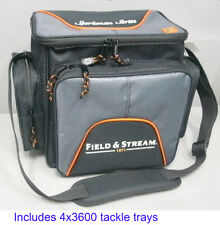 NEW Field & Stream Soft Sided Fishing Tackle Carry Bag w 4 large Storage Boxes