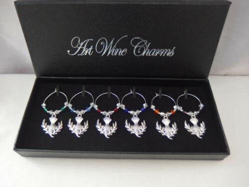 6 Scottish Thistle Wine Glass Charms Gift Box Christmas New Year Burns Night