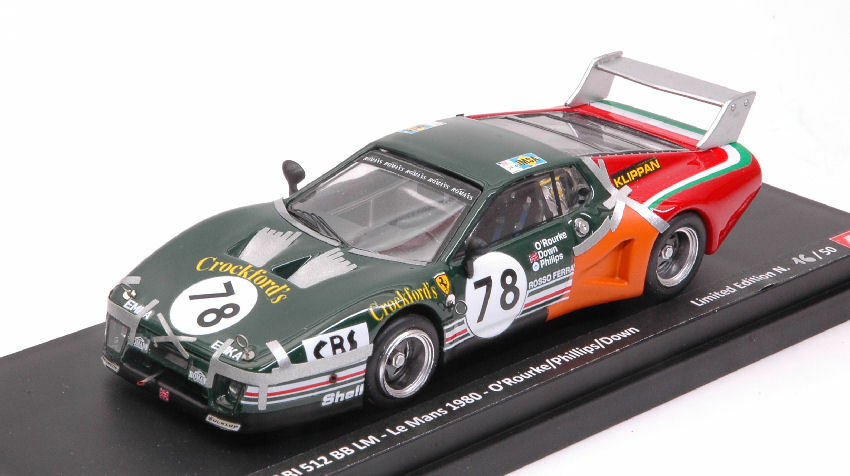 Ferrari 512 Bb  78 23th Lm 1980 O'Rourke   Down   Phillips Limited 50 pcs 1 43  | Authentische Garantie