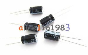 50PCS 470uF 16V 105C 8mm*12mm Radial Electrolytic Capacitors 470uF 16V