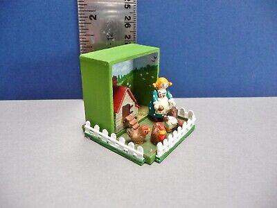 Adorable Miniature Maggie Folk Art Yard Scene One Of A Kind