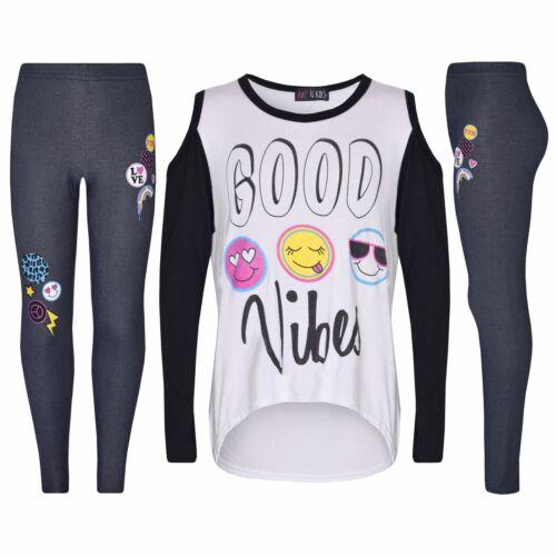 Girls Top Kids Good Vibes /& Emojis Print T Shirt Tops /& Jegging Set 7-13 Years
