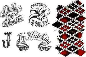 Harley Quinn Suicide Squad Fancy Dress Temporary Tattoo Set Ebay