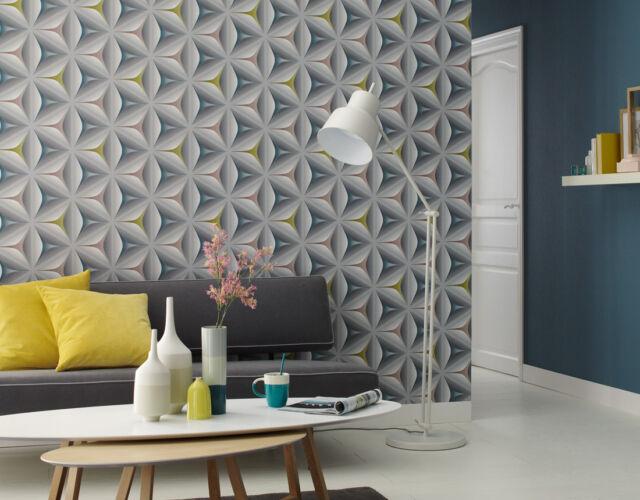 Feature Wallpaper 3D Flower Geometric Funky Modern Grey Teal Olive Mink Retro