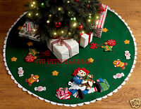 Bucilla Christmas Morning Raggedy Ann 42 Felt Tree Skirt Kit 86245 2011