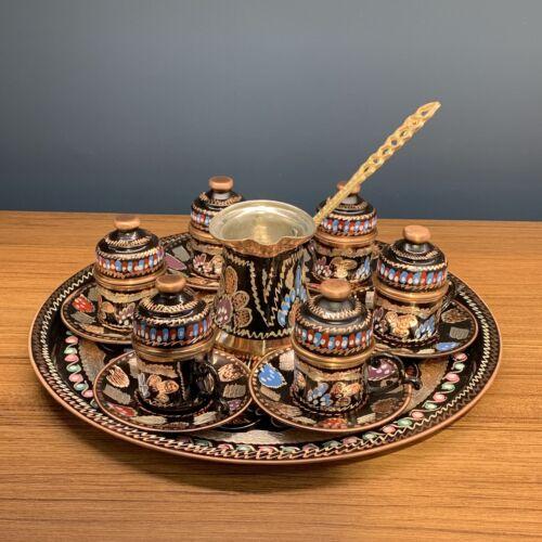 Handmade Copper Turkish Coffee Set /& Espresso Set for 6 with Pod Lids Tray
