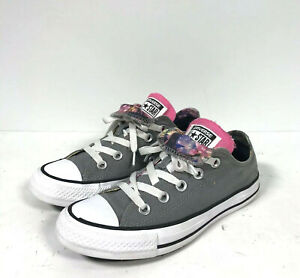 Details about Women's Chuck Taylor Converse All Star Double Tongue GreyPinkFlowers Sz 5