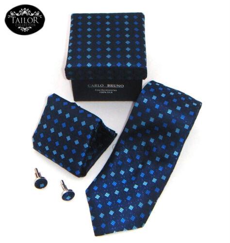 Brand New Mens Cufflinks Tie Hanky Handkerchief Set 100/% Silk Christmas Gifts