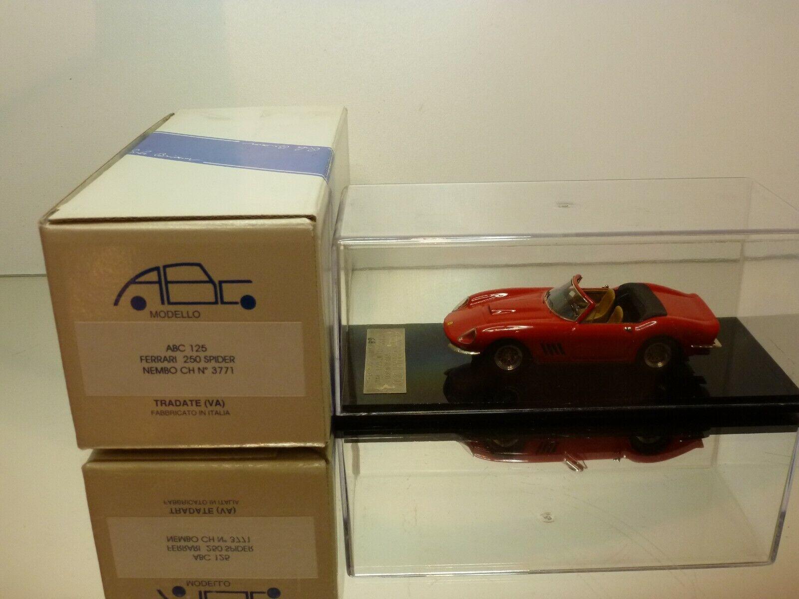 ABC BRIANZA ABC125 FERRARI 250 SPIDER NEMBO CHASSIS 3771 - RED 1:43 -MINT IN BOX