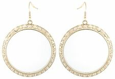 Zest Swarovski Crystal Hoop Earrings for Pierced Ears Golden & Clear