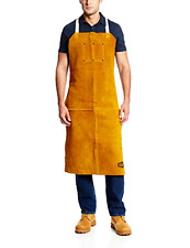 "Leather Welding Bib Shop Apron Heat Resistant Blacksmith Mechanic Smock 24""x42"""