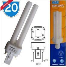 2x 10W G24q1 4 Pin 4000K Cool White Linear CFL Light Bulbs FLD Twin Tube Lamp