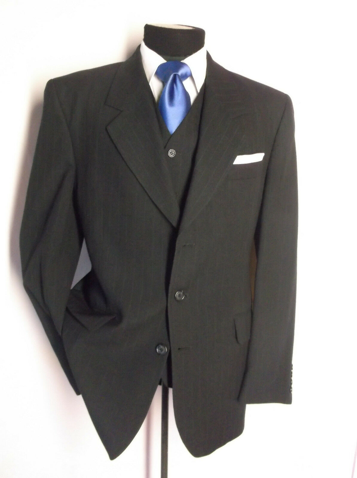 Fantastic 3PC Suit Navy Blau Stripe 3 Button 40R Pants W 34