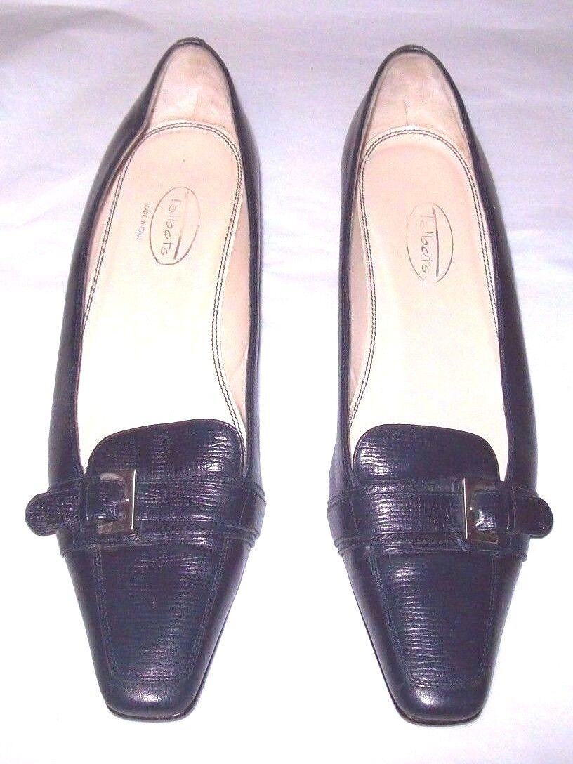 Talbots Women's shoes Sz 7.5 Black Leather Black Italian Made Loafers Heels