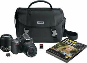 NEW Nikon D5200 Digital SLR 24.1 MP with 18-55mm & 55-200mm Lenses Bundle Black