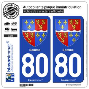 2 Adhésif plaque immatriculation auto80 Somme Armoiries