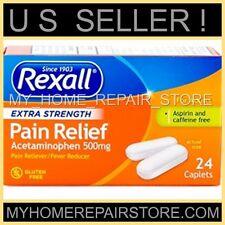 24 REXALL EXTRA STRENGTH ACETAMINOPHEN PAIN RELIEF CAPLETS 500Mg GENERIC TYLENOL