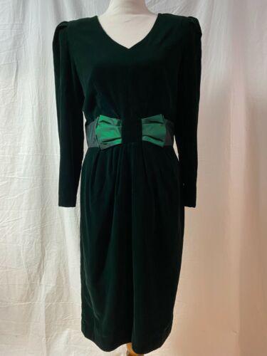 Dress.com Vtg 80/'s velvet forest green stretch dress sz M