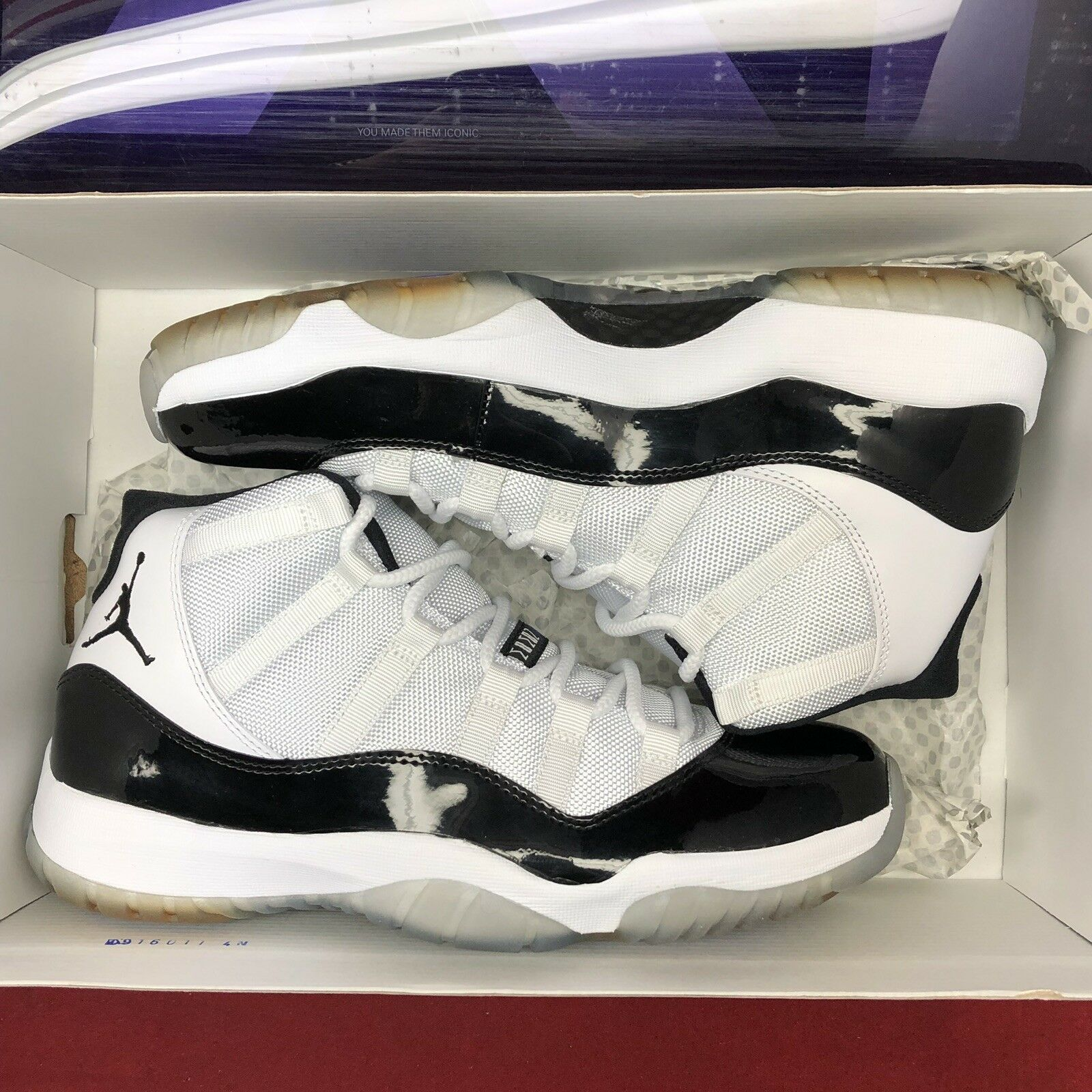 f4ff8685219 Nike Air Jordan Retro XI Concord Black White 378037 107 SZ 10.5 Space Jam  72-