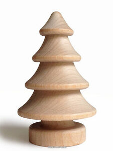 10 Wood Trees -  2.75 Inch 3D Natural Wooden Christmas Trees