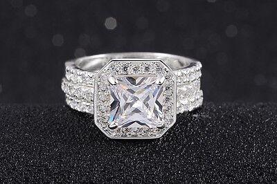 4.0CT 3Pcs Size 6,7,8,9,10 Womens Stainless Steel WhiteTopaz Wedding Ring Sets