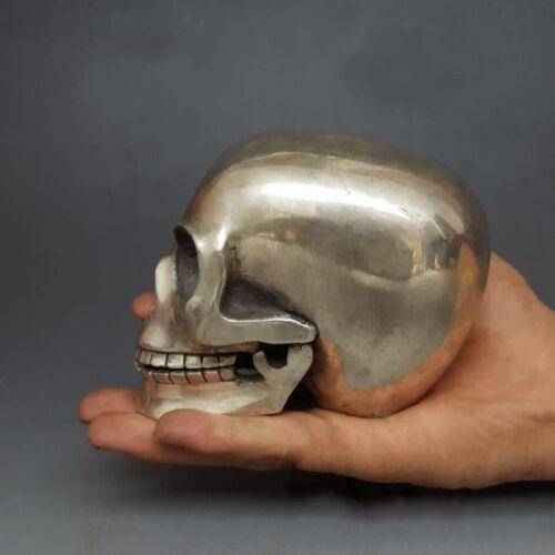 Collectible Old Handwork Tibet silver Bonelike Skull Head Figurine Statue