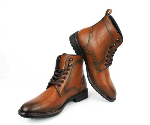 Men/'s Ankle Dress Boots Round Toe Leather Lace Up Block Heel Luciano 741 NEW