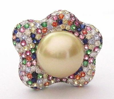 5.49 TCW Fine Pearl and Multi-Color Sapphire Diamond Star Ring Size 7 18k WGold