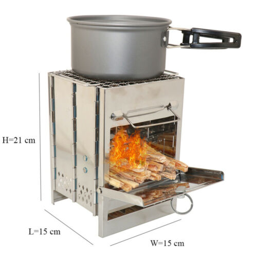 Folding Wood Burning Camping Stove Stainless Steel Barbecue Cookware Grill Bag