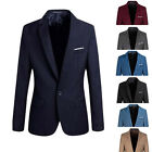 Mens Casual Slim Fit Formal One Button Suit Blazer Coat Jacket Tops Stylish New