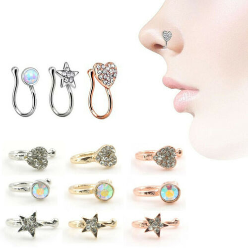 Fashion Jewelry Girl Body Piercing In Stainless Steel Nose Heart Studs Piercing