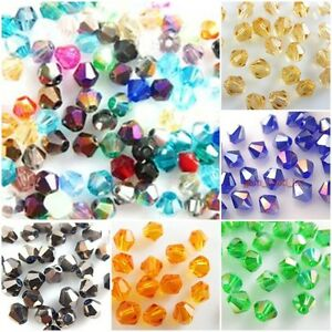 Assorted-Color-100Pcs-Faceted-Glass-Crystal-Nice-Bead-Spacer-Bicone-Finding-4mm