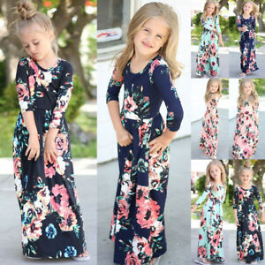 41c6cbe93 Hot Sale Long Sleeve Floral Kids Girls Maxi Dress Toddler Outfit ...