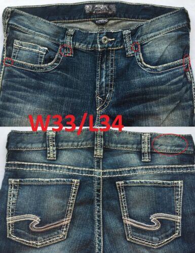NEW Silver Jeans Men/'s KONRAD Slim Leg Mid Rise   90728A