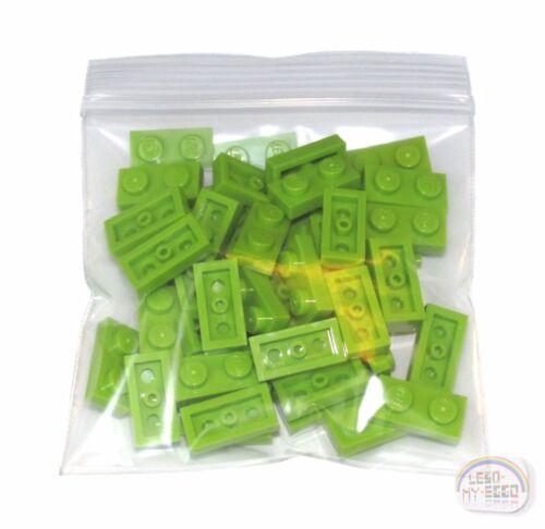 New - Lime 1 x 2 Plate 40-ea LEGO Tile, Brick 3-Buck Bag