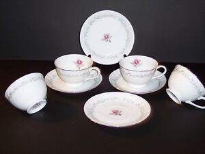 Set-of-4-Footed-Cups-amp-Saucers-in-Royal-Swirl-by-Fine-China-of-Japan