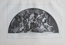 Cornelius DIE ZIERSTÖRUNG VON TROJA Fresko Originaldruck aus 1904 old print