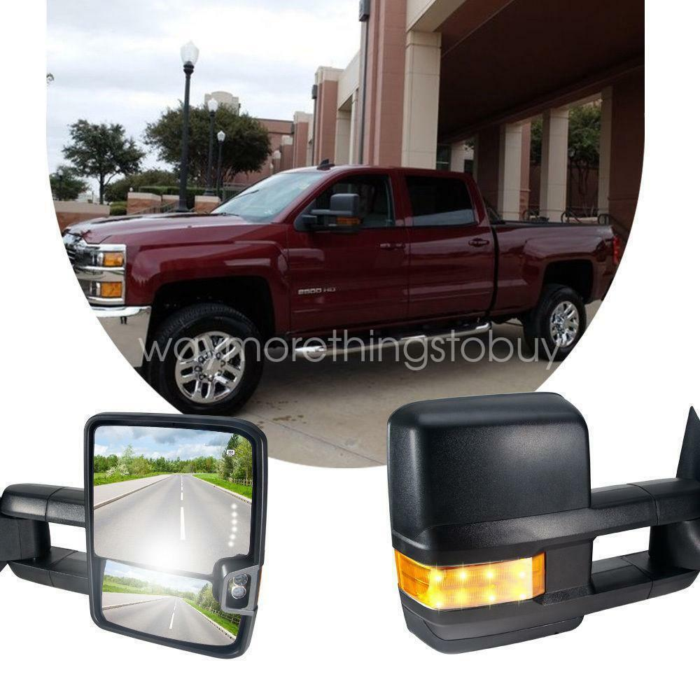 pair hd design power heated signal tow towing mirrors for 03 06 chevy silverado ebay. Black Bedroom Furniture Sets. Home Design Ideas