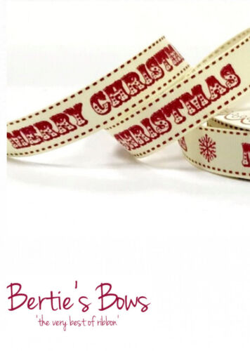 BERTIES BOWS MERRY CHRISTMAS 16mm WESTERN STYLE FONT SNOWFLAKE Grosgrain Ribbon