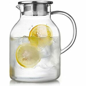 Glass Pitcher W Lid 68 Oz Water Jug For Hot Cold Water Ice Tea