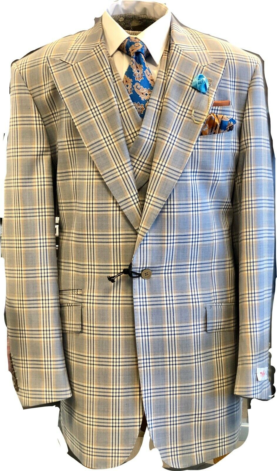 NEW Tiglio rot Blau W  Orange Plaid 3pc Italian Suit 48 Long Msrp  499