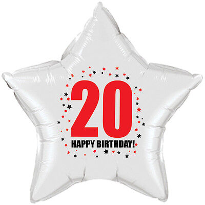 "20th Birthday Party Supplies (Age 20) ""HAPPY BIRTHDAY"" STAR BALLOON"