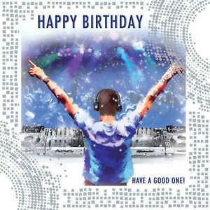 enjoy your day dj decks music player rave party design male happy birthday card ebay. Black Bedroom Furniture Sets. Home Design Ideas