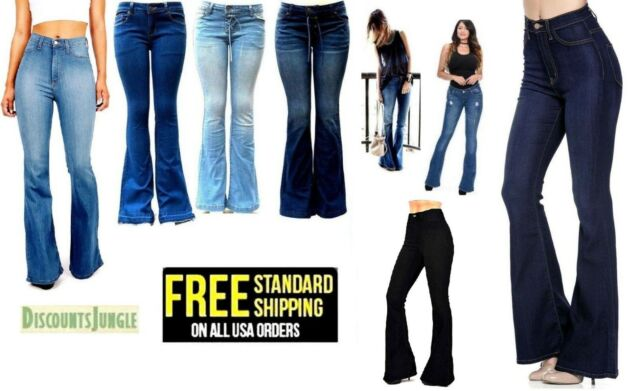 moderate cost luxury outlet boutique Wax Jeans Womens Vintage High Waist Flared Bell Bottom Light Denim 70s  Pants NEW