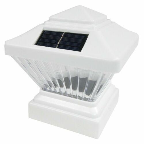 2 Pack White//Black Outdoor Garden 4x4 Solar LED Post Cap Light PVC Vinyl Wood