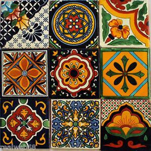 "Talavera Wall Art w140 - 9 mexican talavera tiles ceramic folk art wall mosaic 4"" | ebay"