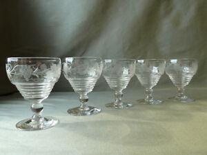 5-Stuart-Crystal-Wheel-Etched-Grapevine-Port-Wine-Glasses-Signed-Art-Deco
