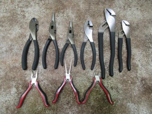 Craftsman 9pc Pliers Slip Needle Nose Arc Joint Diagonal Cutter 6 MADE in USA