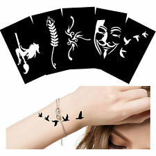 5 Pieces Body Paint Witch Broom Pattern Henna Tattoo Stencil Temporary Templates